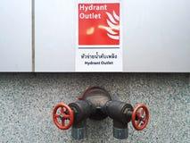 与水阀门的消防龙头出口大厦的在泰国 免版税库存图片