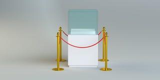 与绳索障碍的玻璃陈列 免版税库存图片