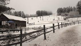 与滑雪的Whitemountain倾斜在冬天和雪期间在波士顿 免版税库存图片