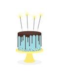 与结霜和闪烁发光物的生日蛋糕 皇族释放例证