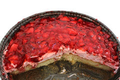 与结霜的开放草莓蛋糕 图库摄影