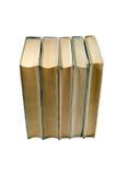 与黄页的老被隔绝的书在白色背景 教育和知识概念 前面顶视图 免版税库存图片