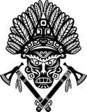 与头饰的美洲印第安人面具 免版税库存照片