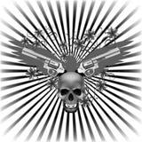 与头骨和枪的背景老鹰 免版税库存图片