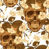与头骨和花的无缝的样式 免版税库存照片