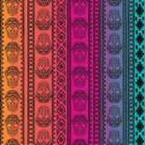 与头骨的元素的无缝的样式 Boho种族带 部族样式设计 免版税图库摄影