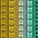 与头骨的元素的无缝的样式 Boho种族带 部族样式设计 库存照片