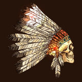 与头骨的印地安部族头饰 图库摄影