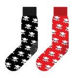 与头骨的黑和红色袜子 传染媒介例证辅助部件 免版税库存照片