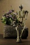 与头骨,爱情小说集合的静物画 免版税图库摄影