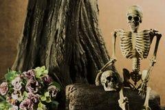 与头骨,爱情小说集合的静物画 库存照片