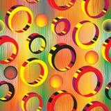 与3d五颜六色的圆环的无缝的样式 免版税图库摄影