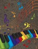 与3D五颜六色的钥匙和音乐笔记的钢琴波浪边界 免版税库存图片