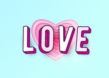 与3d作用信件的词爱 心脏纸削减了多红色桃红色颜色层数 免版税库存图片