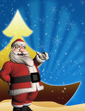 与3d圣诞老人的圣诞节模板 免版税库存图片