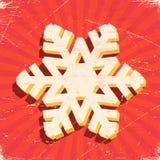 与3D圣诞节雪花的被抓的葡萄酒卡片 免版税库存照片