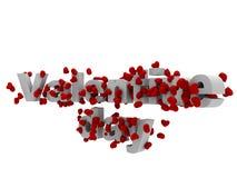 与3d心脏的情人节文本 免版税库存图片