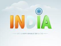 与3D文本的愉快的印地安共和国天庆祝 库存图片
