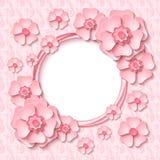 与3d浅粉红色的纸的传染媒介葡萄酒圆的框架删去了花 库存照片