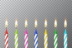 与3d现实另外生日聚会colofful蜡石蜡燃烧蛋糕蜡烛集合特写镜头的传染媒介背景 免版税库存照片