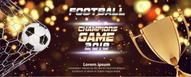 与3d球的足球或橄榄球宽横幅在闪耀的金黄背景 足球赛比赛火与球的目标片刻 库存例证
