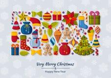 与3d纸裁减标志的圣诞节背景 逗人喜爱的孩子玩具和辅助部件 在后面的降雪 招呼新年度 皇族释放例证