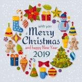 与3d纸裁减标志的圣诞节背景 逗人喜爱的孩子玩具和辅助部件 在后面的降雪 招呼新年度 向量例证