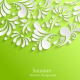 与3d花卉样式的抽象绿色背景 免版税库存照片
