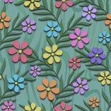 与3d花的花卉无缝的样式 库存照片