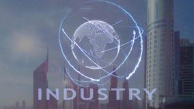 与3d行星地球的全息图的产业文本反对现代大都会的背景的 股票视频