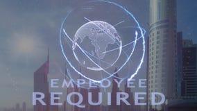 与3d行星地球的全息图的雇员必需的文本反对现代大都会的背景的 股票视频