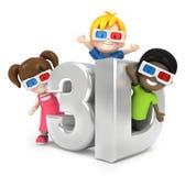 与3d玻璃的孩子 免版税库存照片