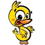 与黑outli的动画片逗人喜爱的小的微笑的小鸭子字符 库存图片