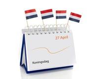 与4月的27日日历如荷兰语kingsday 免版税库存图片