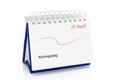 与4月的27日日历如荷兰语kingsday 免版税库存照片