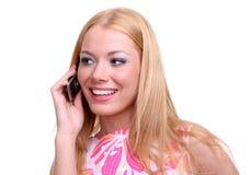 与a的女孩移动电话 免版税库存图片