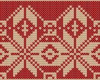 与a的编织的圣诞节无缝的样式 免版税库存图片