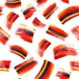 与acrilyc刷子的Absrtract艺术无缝的纹理抚摸并且弄脏 手画的背景 现代条纹设计 红色 免版税库存图片