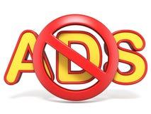 与ADS文本3D的禁止的标志 库存图片