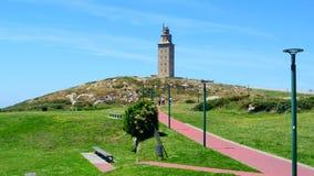 与ancian罗马灯塔的美好的风景 库存照片