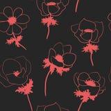 与anemon花的无缝的样式 免版税库存照片