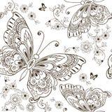 与antistress的蝴蝶的无缝的花纹花样上色 皇族释放例证