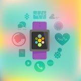 与app传染媒介象集合的聪明的手表概念 免版税库存照片