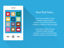 与app象在触摸屏幕,平的设计,拷贝空间的聪明的电话背景 免版税库存图片