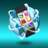 与apps和发光的超轻量级弯曲屏幕smartwatch 库存图片