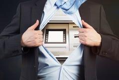与ATM的商人而不是身体 库存照片