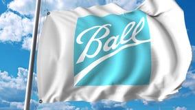 与Ball Corporation商标的挥动的旗子 Editoial 3D翻译 库存图片