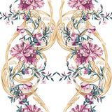 与barocco无缝的样式的装饰花 免版税库存图片