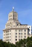 与BBVA象征的大厦2010年5月11日在巴塞罗那,西班牙 图库摄影