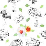 与birds_-05的无缝的背景 免版税库存图片